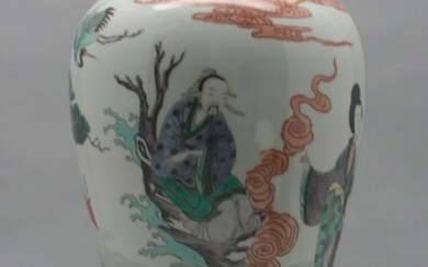 Large Chinese Famille Verte Meiping Vase with Decorations of Figures Deer and Crane A7WAC
