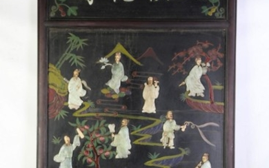 Large Chinese Panels (3) with greenstone immortals (Centre panel 143cm x 80cm)