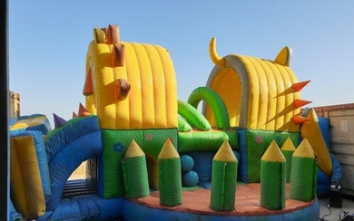 Large Inflatable Bouncy Castle; 'Lion', Double Sided with Sl...