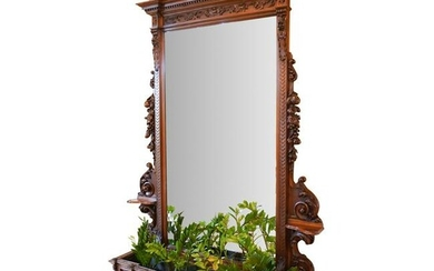 Large Renaissance Style Walnut Hall Tree Mirror