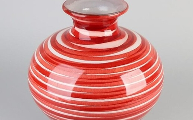 Large glass vase. Red White. Second half of the 20th
