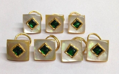 MOTHER OF PEARL-GOLD -SILVER-EMERALD BUTTON SET (7 PIC)