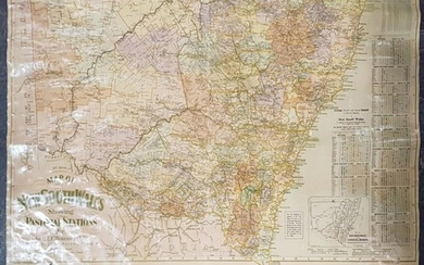 Map of New South Wales Pastoral Stations, on canvas, by H E C Robinson Ltd 221-223 George St