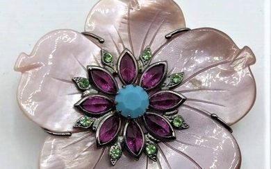 Mariangela Signed Flower Brooch With Colored Stones