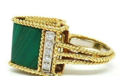 Mid Century Modern 18K Yellow Gold Diamonds Malachite