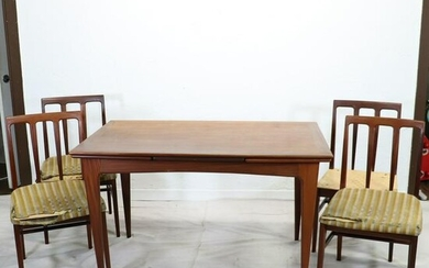 Mid Century Modern Draw Leaf Dining Table & 4 Chairs