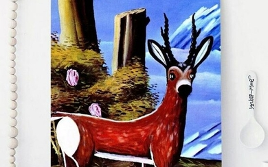 """NIKO PIROSMANI (AFTER) """"Roe deer with a Landscape in"""