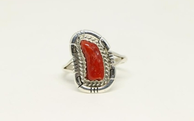 Native American Navajo Sterling Real Red Coral Ring By