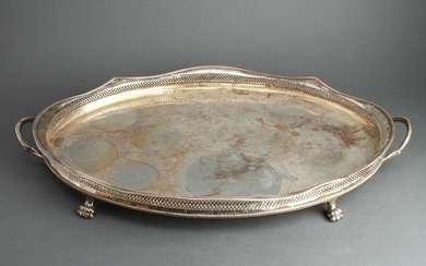 Neoclassical Manner Silver-Plate Gallery Tray