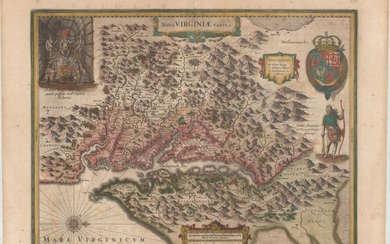 """One of the Most Important 17th Century Maps of the Chesapeake Bay in Full Contemporary Color, """"Nova Virginiae Tabula"""", Hondius, Henricus"""
