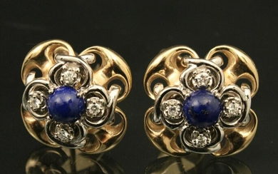 PR OF 14K YG LAPIS AND DIAMOND CUFF LINKS; APPROX.