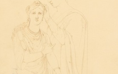 Painter unknown, 19th century: Two Italian women in classical garments. Indistinct signature, 77. Sepia on paper. Sheet size 37×18 cm.