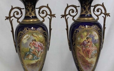 Pair 19 Century French Sevres Porcelain Urn