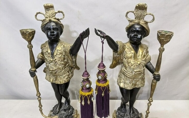 Pair African Figural Royalty Brass Sculptures