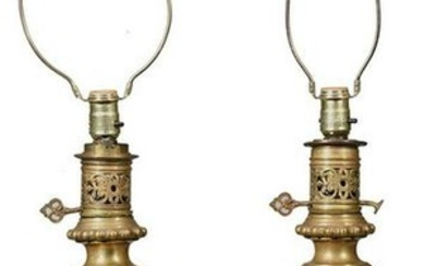Pair Floral Vases Converted to Lamps