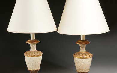 Pair Italian Neoclassical carved wood urn lamps