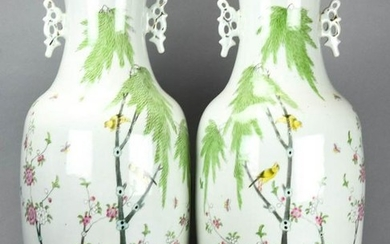 Pair Large Chinese Hand Painted Porcelain Vases