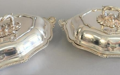 Pair Sheffield silver plated covered vegetable dishes