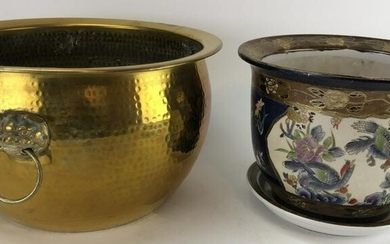 Pair Vintage Porcelain and Brass Asian Planters