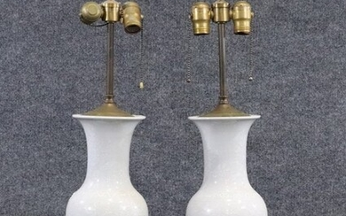 Pair White Celadon Porcelain Urn Lamps Incised Floral