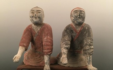 Pair of Chinese Pottery Figure