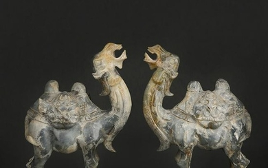 Pair of Chinese Superb Hetian Jade Camel Statues