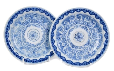 Pair of Chinese blue and white saucer dishes, Qianlong seal mark