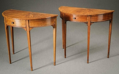 Pair of Edwardian Inlaid and Crossbanded Satinwood Demilune Console Tables Circa 1900