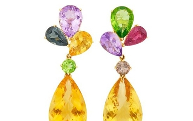 Pair of Gold and Gem-Set Pendant-Earclips