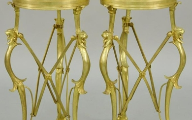 Pair of Gueridon D' Epoque Neoclassical Dore Bronze