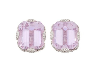 Pair of White Gold, Kunzite and Diamond Earclips