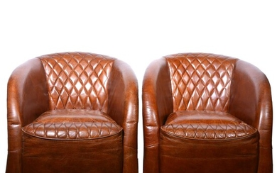 Pair of modern brown leather club chairs