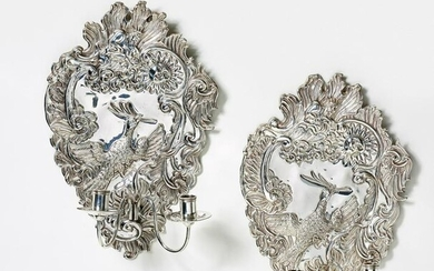 """Pair of silver """"Blaker"""" wall appliques"""