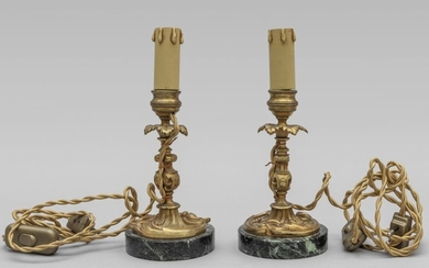 Pair of small bronze candlesticks, green marble base,...
