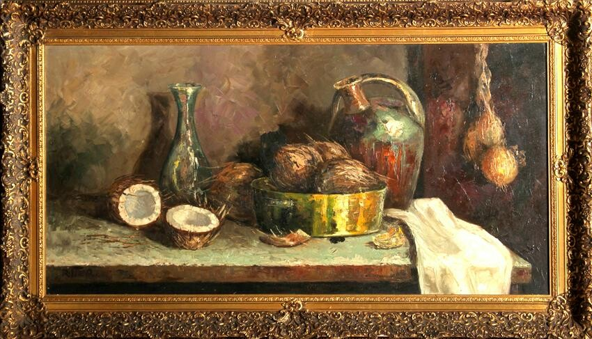 Paul Ritter, Still Life with Coconuts, Oil Painting