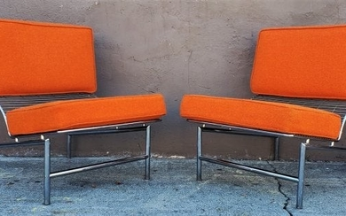 Post Modern Italian Chrome Pair of Lounge Chairs