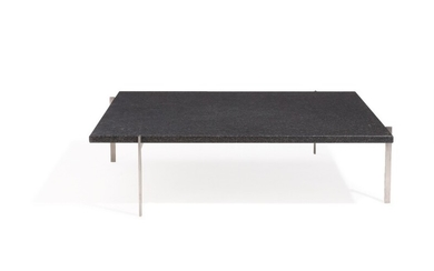 """Poul Kjærholm: """"PK-61A"""". Square coffee table with steel frame and dark grey granite top. Manufactured by Fritz Hansen, 2007. H. 32. L. 120. W. 120 cm."""