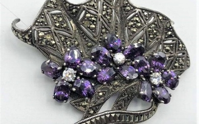 Quality Fan Brooch with Austrian Stones & Marcasites