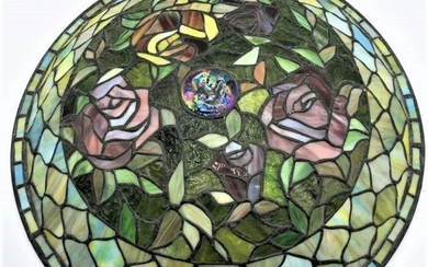 Quality Leaded Glass Roses, Turtle Back Shallow Shade