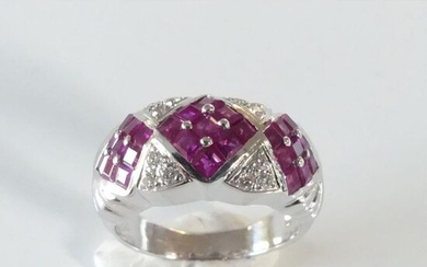 RING RING in 750°/°° white gold decorated with 3 calibrated...