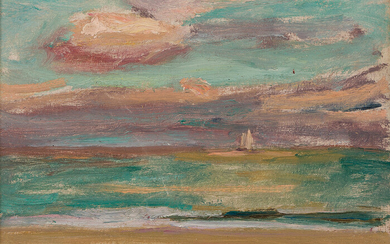 ROBERT HENRY LOGAN Seascape with a Sailboat on the Horizon