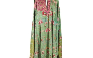 SILK EMBROIDERED GREEN-GROUND LADY'S LONG ROBE 20TH