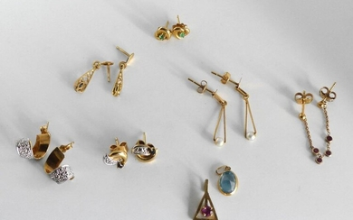 SIX PAIRS of GOLD MOUNTED EARRINGS and EARRINGS (one without strollers) and TWO small GOLD MOUNTED PENDANTS. Gross Weight 7.8 g