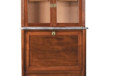 Guillotine secretary forming a showcase at the top in mahogany and mahogany veneer moulding. One small drawer, 2 glass doors, a flap and 3 large drawers. Sainte Anne marble top. Small tapered legs.