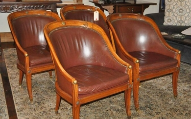 Set Four Continental Carved Walnut Tub Chairs