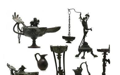 Seven Roman-Style Bronze Lamps and Vessels