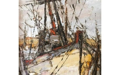 Signed Abstract Oil Painting, Masted Boat