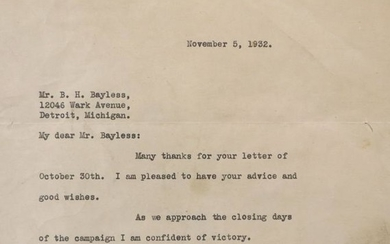 Signed Letter by FDR
