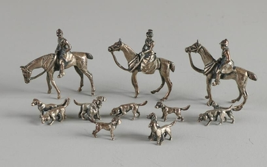 Silver miniatures, 925/000, hunting scene, with 3