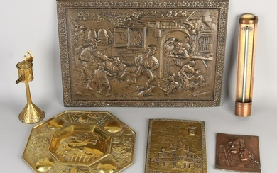 Six parts of antique brass. Circa 1920. Consisting of